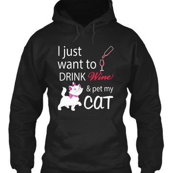 Cat T-Shirts- I Just want to Drink Wine