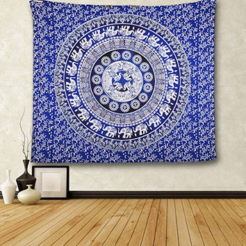 Elephant Print Wall Hanging Tapestry Bohemian Room Decor Bedding Rug
