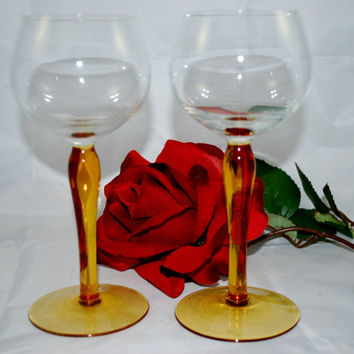Stemware Wine Glasses Amber Luminarc France
