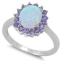 Lab Created White Opal & Simulated Amethyst .925 Sterling Silver Ring Sizes 4-11 (11)