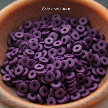 8mm Purple Mykonos Greek Ceramic Beads (qty 25 or 50) Disc Spacers Roundels Donuts Crown Chakra Color Therapy Magic Divine Wisdom Compassion