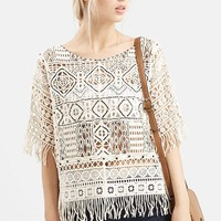 Women's Topshop Embroidered Lace Top,