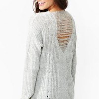 Shredded Cable Knit - Gray