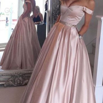 Off Shoulder Long Prom Dress, Long Prom Dress, Off Shoulder Evening Dress