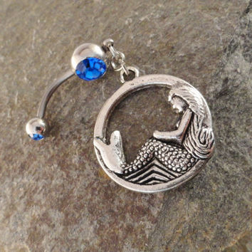 Mermaid Belly Button Ring Jewelry, Sapphire Blue Belly Button Ring