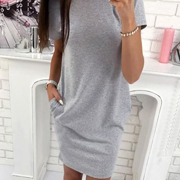 New Women Grey Patchwork Print Cut Out Round Neck Casual Mini Dress