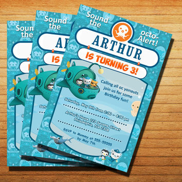 Design Octonauts Party Invitation Cards 4x6, 5x7, Customized