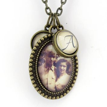 Personalized Photo Necklace With Custom Initial Charms