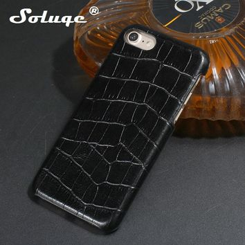 Solque Real Genuine Leather Case for iPhone 6 Plus Cell Phone Luxury For iPhone 6 6S Plus 3D Crocodile Skin Pattern Back Cover