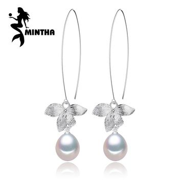 MINTHA 925 Sterling Silver natural Pearl earrings,long earrings for women,vintage accessories Jewelry Drop earrings,jewelry box
