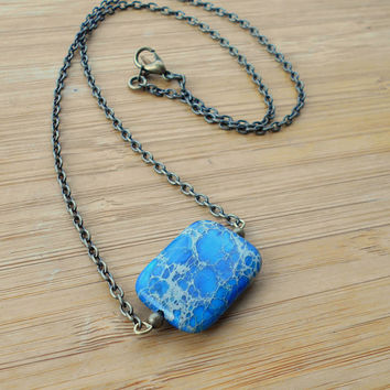 Sea sediment Jasper necklace, Sea sediment Jasper, bronze necklace,Jasper pendant, healing crystals,Jasper pendant, blue sea sediment Jasper