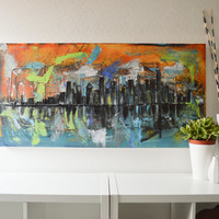 City A- an original abstract cityscape acrylic painting