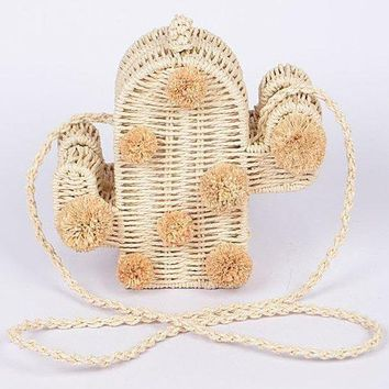 Straw Cactus Purse