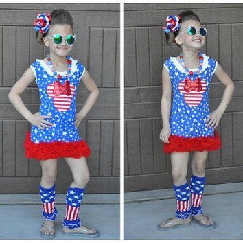Minnie Mouse 4th of July Outfit, Minnie Mouse Dress, 4th of July Dress, Girls 4th of July Dress,Girls 4th of July Outfit,Toddler 4th of July