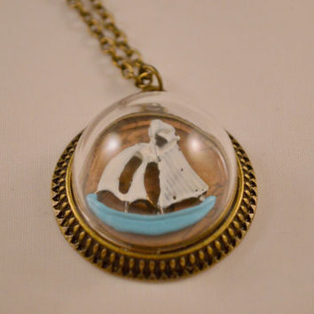 Gifts for Her // Gifts for Ocean Lovers // Nautical Gifts // Sail Boat in a Bottle Antique Bronze Necklace