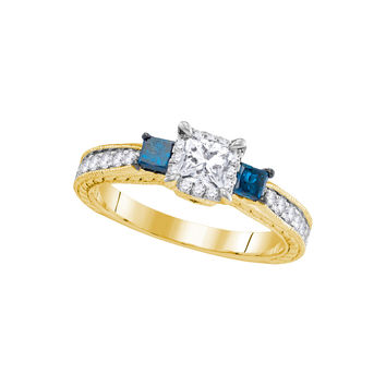14k Yellow Gold Womens 3-stone Blue Colored Diamond Wedding Bridal Engagement Ring 1.00 Cttw 106412