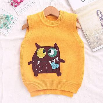 Children Sweater 3D Print Monster Boutique Knitted Wool Vest  For 3-7Years