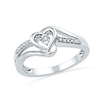 10kt White Gold Women's Round Diamond Heart Love Promise Bridal Ring .03 Cttw - FREE Shipping (US/CAN)