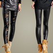 Sexy Women Ripped Tron Lace Cutout Stretch Legging Pants Slash Footless