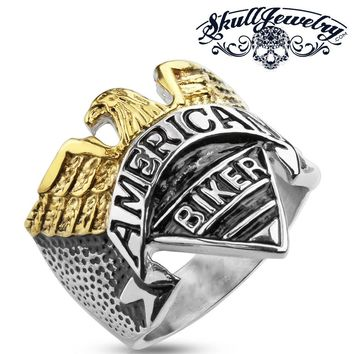American Biker - Gold / Silver Tone Biker Ring With Gold Eagle (AMERICAN BIKER)