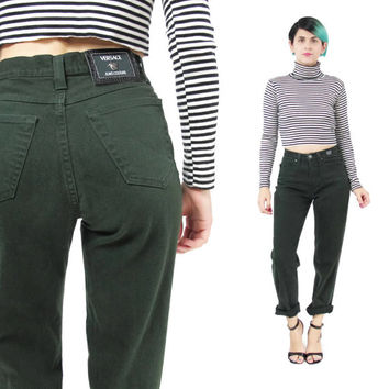 Vintage Versace Jeans Couture Hunter Green Pants 80s 90s High Waisted Jeans Tapered Leg Jeans Club Kid Dark Green Jeans Designer Pants (XS)