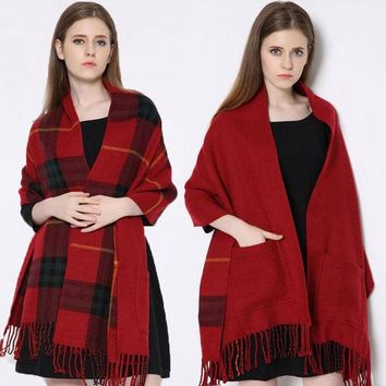 ESBU3C Winter Brand blanket Scarf Plaid Women fashionable Cashmere faced Multifunction Thicken Warm cape Shawl wrap Oversized 200cm 318