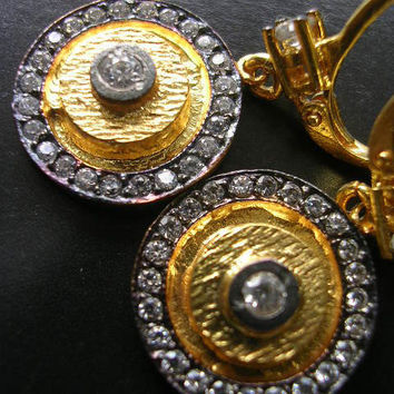 EUPHRATES  EARRING coin gold zirconia ancient greek inspired