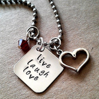 "Hand Stamped "" Live, Laugh, Love"" Necklace"