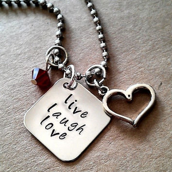 """Hand Stamped """" Live, Laugh, Love"""" Necklace"""