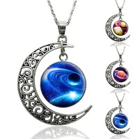 Online Shop 2015 Fashion Vintage Outer space Universe Starry sky Silver Moon Accessories Pendant statement Necklace Jewelry for Women|Aliexpress Mobile