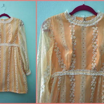 Vintage 60s Peach Apricot White Velvet Hippie Flower Print Chiffon Mod Mini Dress / Sheer Long Sleeve Empire Waist Shift / Size Medium