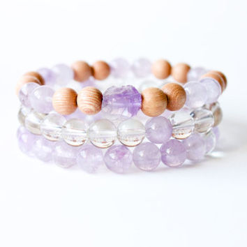 Creative Stack - 3 Stackable Bracelets Made with Amethyst, Crystal Quartz, and Rosewood Beads