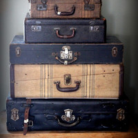 Vintage Canvas Covered Hard Suitcase Extra by myvintagenewengland