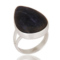 Natural Sodalite Gemstone Ring Handcrafted 925 Sterling Silver Jewelry