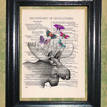 Moose with Butterflies and Dragonflies on it's Antlers - Vintage Dictionary Book Page Art Beautiful Upcycled Page Art Wall Decor Art Print