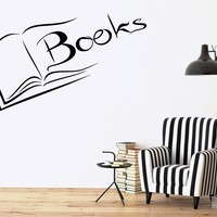 Vinyl Decal Books Wall Sticker Reading Room Library Science Decor for School University Unique Gift (ig2521)