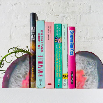 Pastel in Pink BookGardEndz - Crystal Bookends Air Plant Garden - Agate Geodes - Set of Two - Unique Home Decor Planter