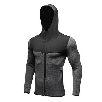 Men's Sports Clothes Long Sleeved zipper Coat Fitness Sweatshirt Tracksuit Training Autumn Clothing Crossfit Exercise Workout