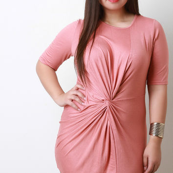Twisted Front Elbow Sleeves Bodycon Mini Dress