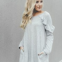 Ruffled Pocket Tunic Dress