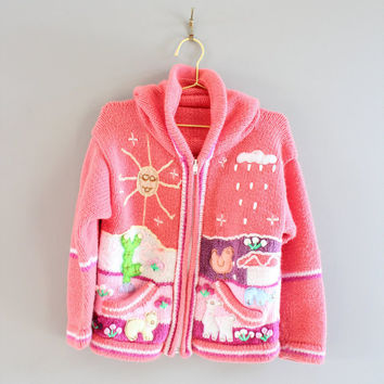 Handmade Pink Toddler Peruvian Cardigan Embroidered Scene Hooded Sweater Animal Patchwork Zip Sweater Size 3 to 4 years old