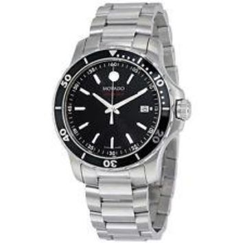 NEW Movado Series 800 Black Dial Stainless Steel 2600135 Mens Swiss Watch