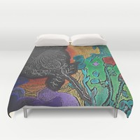 Floral Mixed Media Duvet Cover by ES Creative Designs
