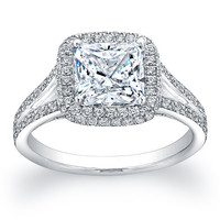 Platinum Cushion Halo pave diamond engagement ring with 1.70ct cushion white sapphire and 0.45 ctw G-VS2 quality diamonds