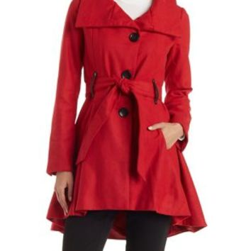Red Flared Belted Trench Coat by Charlotte Russe