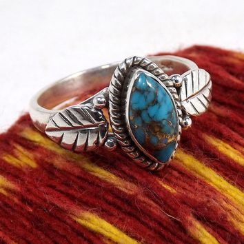 Unique 925 Sterling Silver Ring Marquise Cut Retro Crack Turquoise Leaf Jewelry Birthday Proposal Christmas Gift Engagement Hall
