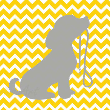 Dog printable Puppy print Nursery dog wall art Yellow chevron Grey dog Custom colors Cute Pet Digital poster Home decor Gift idea DOWNLOAD