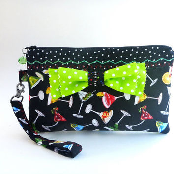 Rockabilly clutch, zipper wristlet, martini clutch, evening bag, clutch bag, rockabilly wedding, cocktail party purse, bridesmaid clutch