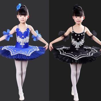 Kids Sequined Swan Lake Ballet dance Costumes Professional Tutu Ballet dancing Dress Girls Ballroom Stage wear Dance Dress