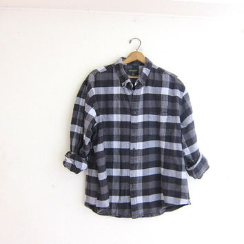 Vintage gray, black and white Buffalo check Plaid Flannel / Grunge Shirt / Button up shirt